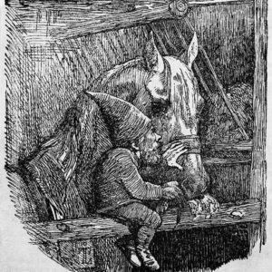 Ein Hof-Tomte in der Vorstellung der Künstler Johan Thomas Lundbye und Andreas Flinch.