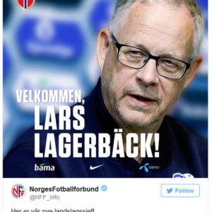 Der norwegische Fußballverbund begrüßt Lagerbäck auf Twitter.