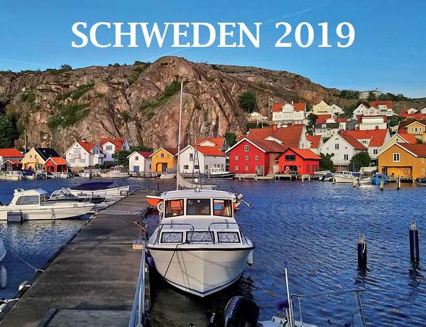 Front des Schwedenkalenders 2019 ( Hafen-Abbildung mit Schiff)