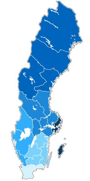 Neuer Vorschlag: 21 Regionen könnten zu sechs großen Einheiten zusammengezogen werden. Grafik: Sverige Radio