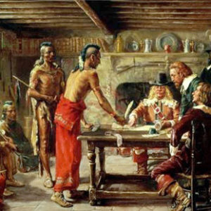 """Signing the Treaty with the Indians"". Gemälde von John Ward Dunsmore (1856-1945)."