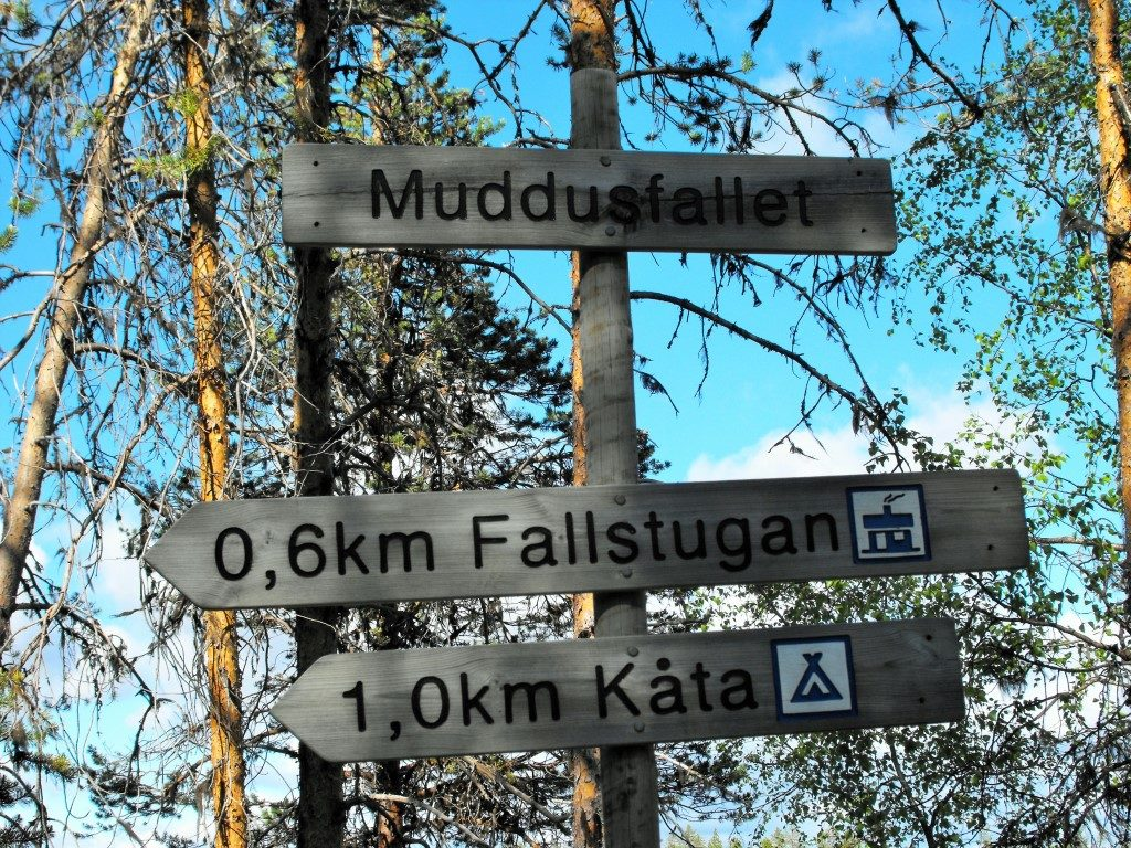 Hinweisschilder an einem Trail im Muddus Nationalpark