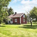 Rotes Ferienhaus in Schweden - Aussenansicht von der Ferne