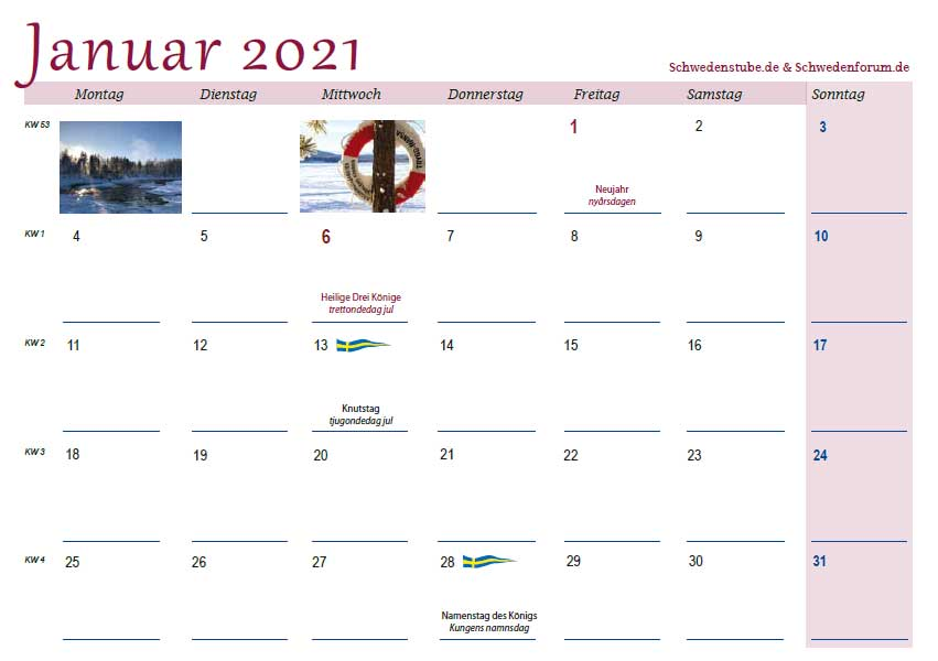 Schwedenkalender2021 Monatsblatt