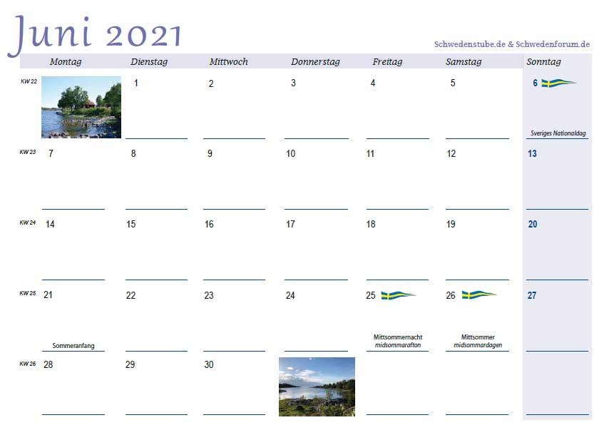 Schwedenkalender Monatsblatt