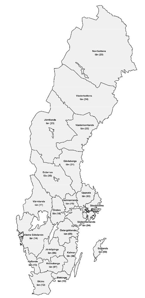 Schweden Karte Län