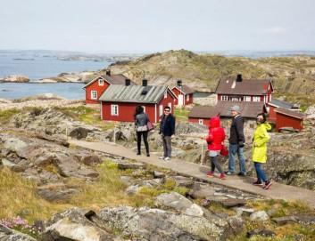 Wandern in Schweden, Menschen wandern am Meer in Schweden