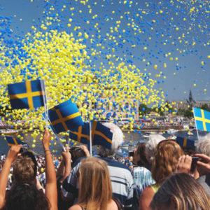 An den schwedischen Flaggentagen wird die blau-gelbe Flagge gehisst