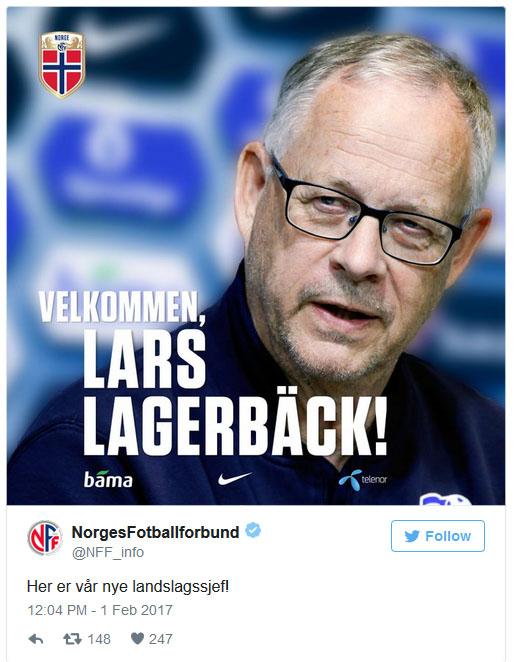 Der norwegische Fußballbund begrüßt Lagerbäck auf Twitter.