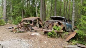 Zwei alte Autos im Wald.