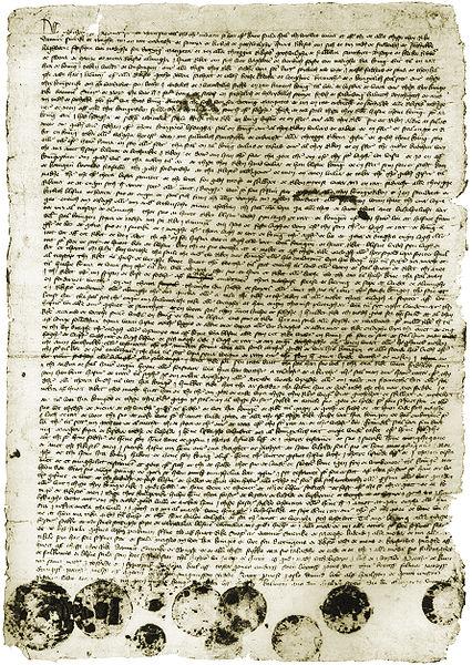 """Der Unionsbrief von 1397. Aus John Danstrup's """"Danmarks historia."""" Erster Band. /commons.wikimedia.org/"""
