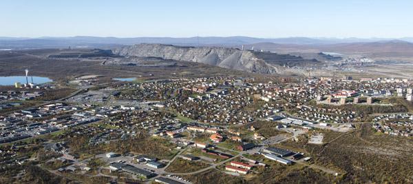 Flugbild über KIruna und seinen Eisenerzberg. Foto: Fredric Alm, LKAB.