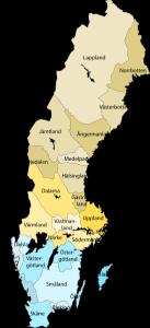 Die 25 historischen Provinzen Schwedens. Bild aus Wikipedia