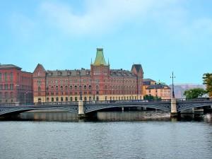 Das Verlagsgebäude der Verlagsgruppe Nordstedt och Söner auf Riddarholm in Stockholm