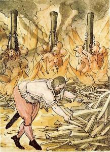 Hexenhinrichtung auf dem Scheiterhaufen. Aus Sammlung Wickiana, Zentralbibliothek Zürich. Quelle: Dietegen Guggenbühl