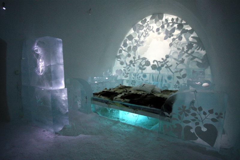 Zimmer im Eishotel. Foto: Heide