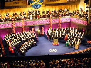 Nobelpreisverleihung im Stockholmer Konzerthaus. Bild aus Wikipedia. Fotograf unbekannt