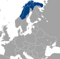 Sapmi, das Land der Samen auf der Landkarte Bild aus Wikipedia. Fotograf: Rogper
