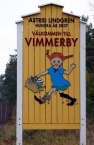 Von dem Ortsschild von Vimmerby